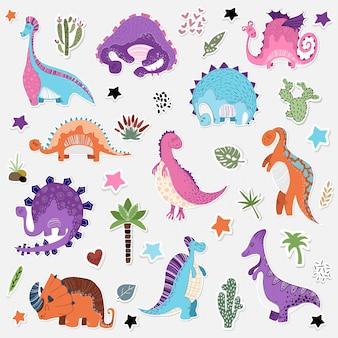 Conjunto de dibujos animados de etiqueta de dinosaurios