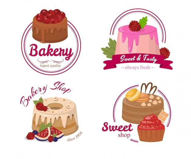 Conjunto de dibujos animados de etiqueta de pastelería o pastel de frutas