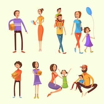 Conjunto de dibujos animados de la familia