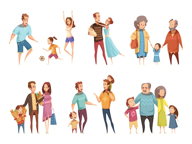 Conjunto de dibujos animados familiares