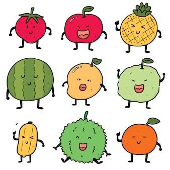 Conjunto de dibujos animados de frutas
