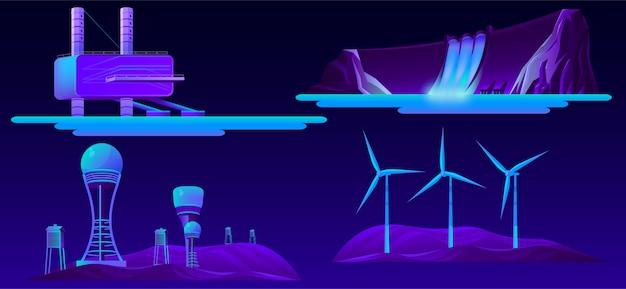 Conjunto de dibujos animados de fuentes modernas de energía renovable