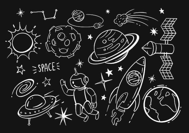 Conjunto de dibujos animados de garabatos dibujados a mano de espacio sobre fondo negro.