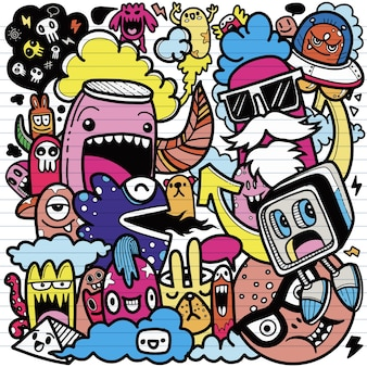 Conjunto de dibujos animados de garabatos dibujados a mano lindo de personaje de dibujos animados lindo doodle, cada uno en una capa separada.