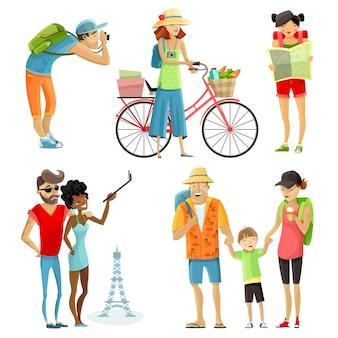 Conjunto de dibujos animados de gente viajando