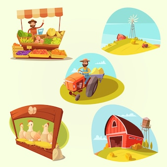 Conjunto de dibujos animados de granja con granjero y productos en fondo amarillo aislado ilustración vectorial