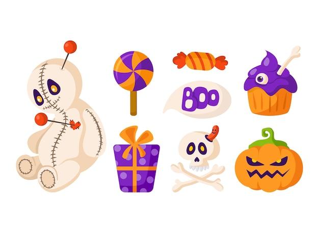 Conjunto de dibujos animados de halloween - muñeco vudú y linterna de calabaza, cráneo y huesos de miedo, dulces, caja de regalo y pastel - vector aislado