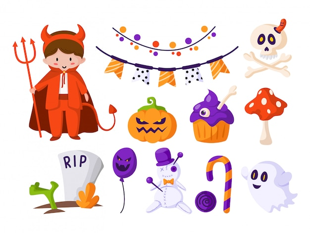 Conjunto de dibujos animados de halloween: niño disfrazado de diablo de halloween, linda calabaza asustadiza, bastón de caramelo, fantasma espeluznante, calavera y huesos, muñeco vudú