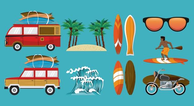 Conjunto de dibujos animados de horario de verano
