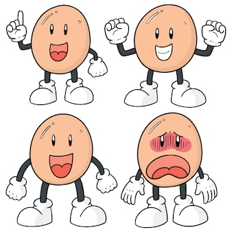 Conjunto de dibujos animados de huevo
