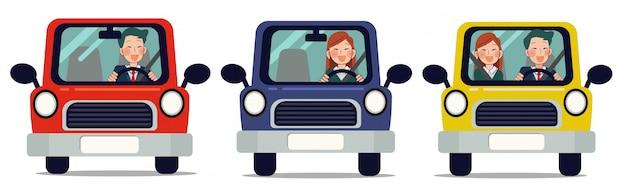 Conjunto de dibujos animados icono de coche 2