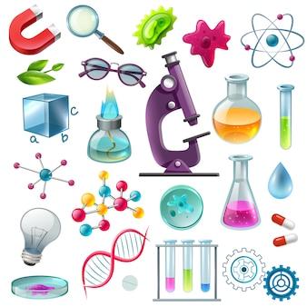 Conjunto de dibujos animados de iconos de ciencia