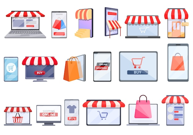 Conjunto de dibujos animados de iconos de compras en línea