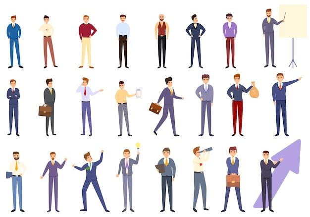 Conjunto de dibujos animados de iconos de empresario exitoso