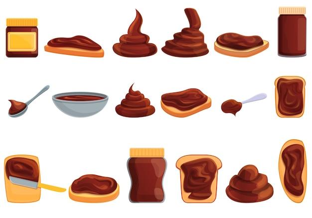 Conjunto de dibujos animados de iconos de pasta de chocolate