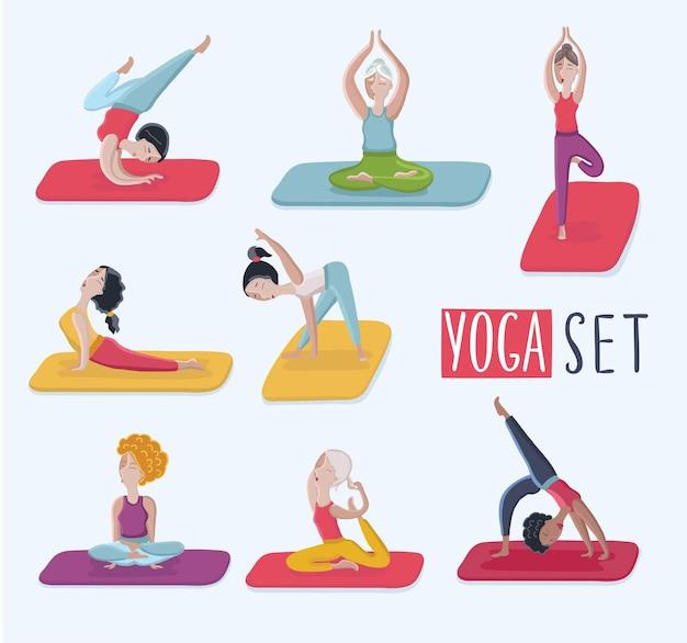 Conjunto de dibujos animados con ilustración divertida de diferentes tipos de mujeres hermosas en varias poses de yoga.