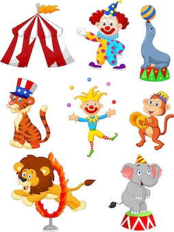 Conjunto de dibujos animados de la ilustración temática del circo lindo
