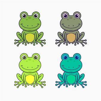 Conjunto de dibujos animados de ilustración vectorial de ranas
