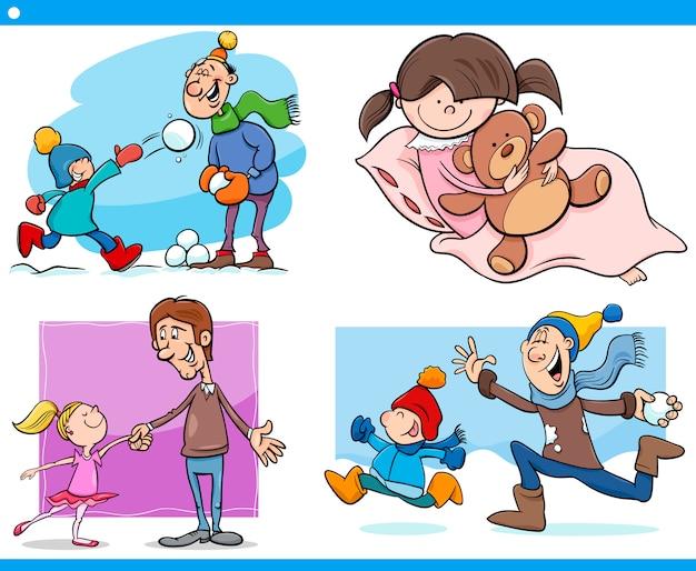 Conjunto de dibujos animados de infancia