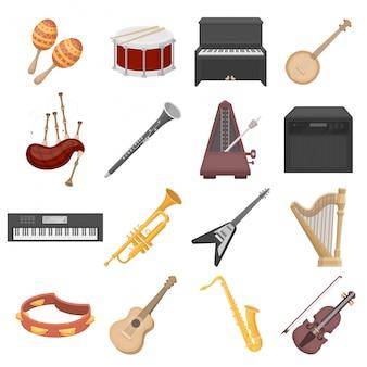 Conjunto de dibujos animados de instrumentos musicales icono