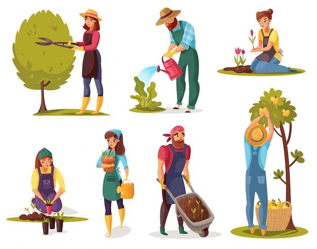 Conjunto de dibujos animados de jardinería