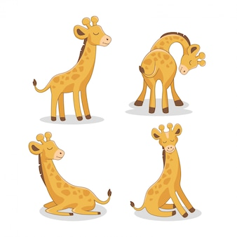 Conjunto de dibujos animados de jirafa