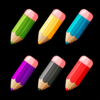 Conjunto de dibujos animados de lápices de madera de colores