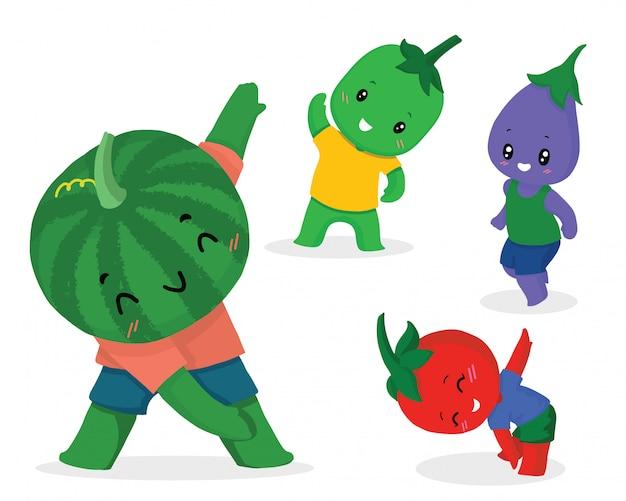 Conjunto de dibujos animados de linda fruta para el ejercicio, dibujado a mano
