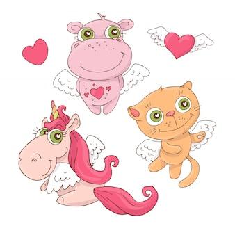 Conjunto de dibujos animados lindo animales ángeles para el día de san valentín s