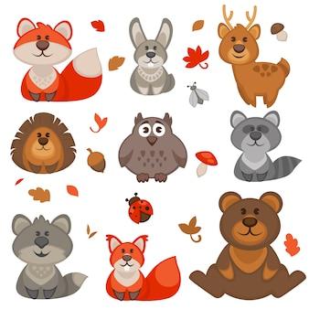 Conjunto de dibujos animados lindo animales del bosque.