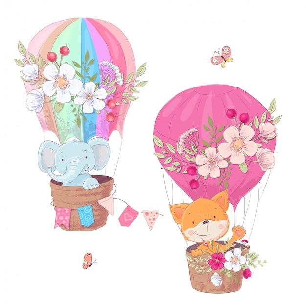 Conjunto de dibujos animados lindo animales fox y elefante globo niños imágenes prediseñadas.