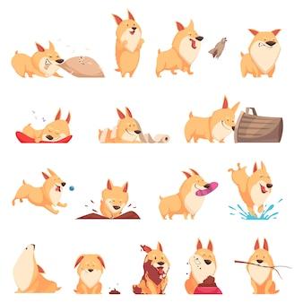 Conjunto de dibujos animados lindo cachorro de diferentes situaciones