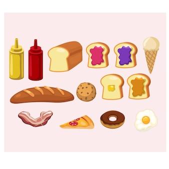 Conjunto de dibujos animados lindo comida ilustración