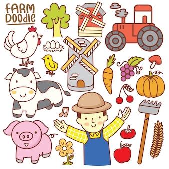 Conjunto de dibujos animados lindo doodle de granja