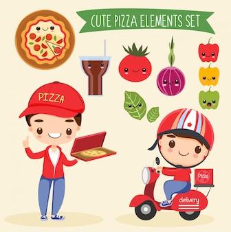 Conjunto de dibujos animados lindo elementos pizze