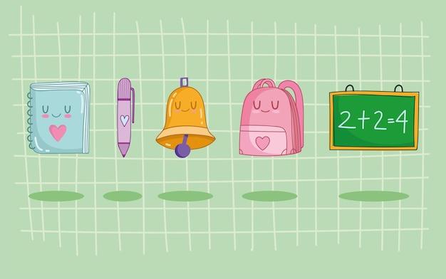 Conjunto de dibujos animados lindo de la escuela