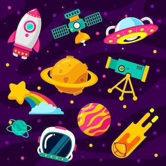 Conjunto de dibujos animados lindo espacio