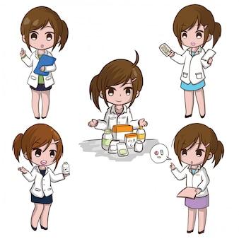 Conjunto de dibujos animados lindo farmacéutico., concepto de trabajo.