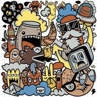 Conjunto de dibujos animados lindo garabatos dibujados a mano de personaje de dibujos animados lindo doodle