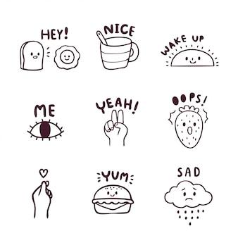Conjunto de dibujos animados lindo icono doodle