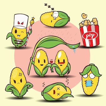 Conjunto de dibujos animados lindo maíz
