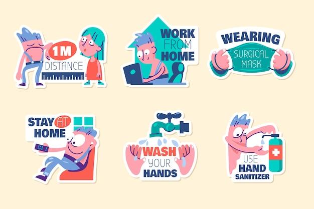 Conjunto de dibujos animados lindo nuevo estilo de vida normal con letras