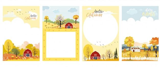 Conjunto de dibujos animados lindo otoño paisaje granja fild con espacio de copia
