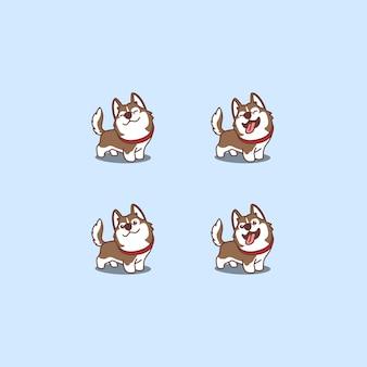 Conjunto de dibujos animados lindo perro husky siberiano marrón