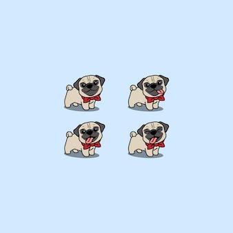 Conjunto de dibujos animados lindo perro pug