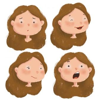 Conjunto de dibujos animados lindo de personajes de niña