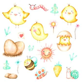Conjunto de dibujos animados lindo pollo acuarela dibujada a mano para guardería y niños