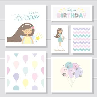 Conjunto de dibujos animados lindo tarjetas de cumpleaños y plantillas