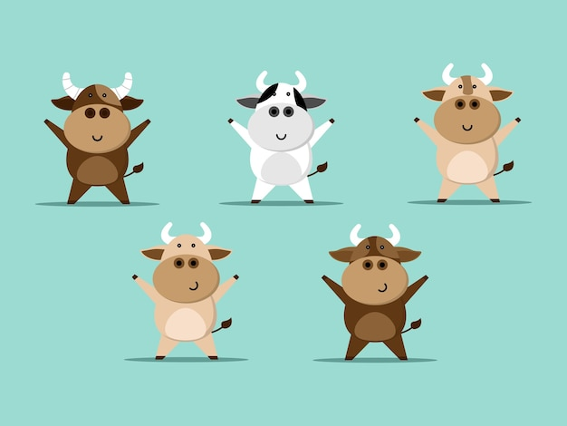 Conjunto de dibujos animados lindo de la vaca