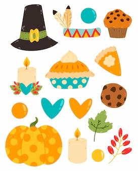 Conjunto de dibujos animados lindo vector plano del día de acción de gracias.